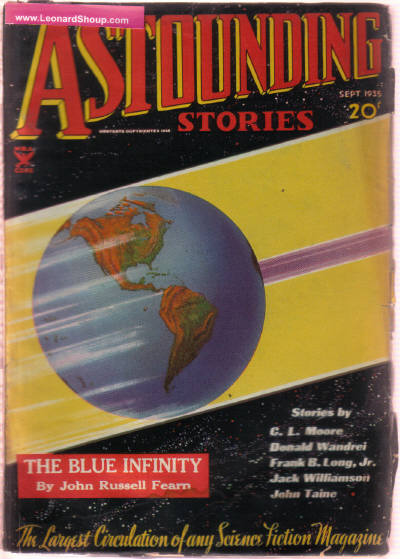 Image for Astounding Stories, September 1935, Volume XVI ( 16 ), # 1 ( Islands of the Sun (part 1(; The Blue Infinity; Earth Minus; Greater Glories; W62 to Mercury; Sky Rock; The Lady of the Moon; Twelve Eighty-Seven (conclusion) )( Science Fiction Pulp Magazine ).