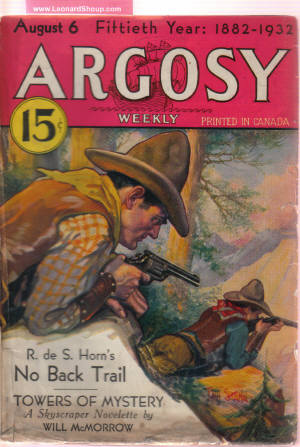 Image for Argosy Weekly Pulp Magazine, Volume 231, # 4, August 6, 1932 ( Towers of Mystery; Hush Money; Demerara Diamonds; Men of Daring; Rogues' Parade; No Back Trail; Always Obey Orders; The Unknown Island; The radio War; War Dance of the Women; Diving for Water)