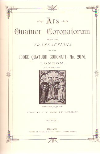 Image for ARS Quatuor Coronatorum, Volume I, 1888, being Transactions of Lodge  Quatuor Coronati No. 2076 London, (Premier Lodge of Masonic Research), Introduction By Harry Carr ( Facsimile of First Edition, Bound with St John's Card ) ( # / Number 1 )