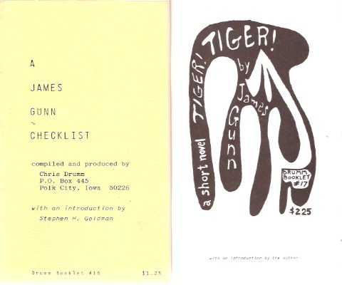 Image for A James Gunn Checklist Compiled By chris Drumm ---with Tiger, Tiger, a Short Novel ---2 Volumes / Chris Drumm Booklet  # 16 and 17