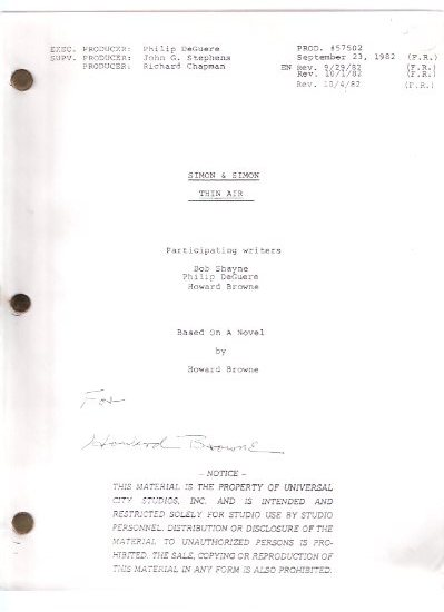 Image for Simon and Simon TV Show Shooting Script:  Thin Air, Based on a Novel By Howard Browne ---signed By Howard Browne