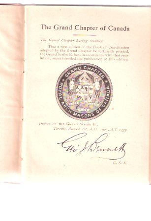 Image for Constitution and General Regulations of the Grand Chapter of Royal Arch Masons of Canada - Toronto  ( Masonic )