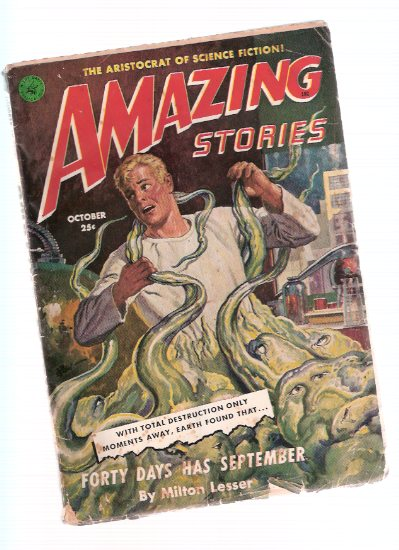 Image for Amazing Stories Science Fiction Pulp Magazine, Volume 25, # 10, October 1951 ( Forty Days Has September; Perfect Hideout; Old Spacemen never Die; Death's Derelict; Cube Sinister )