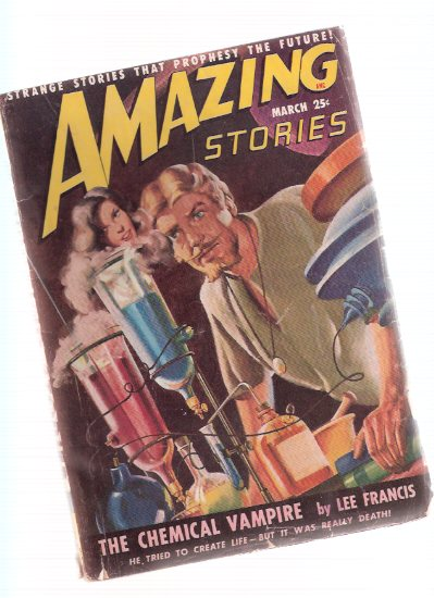Image for Amazing Stories Science Fiction Pulp Magazine, Volume 23, # 3, March 1949 ( Chemical Vampire; Strange Disappearance of Guy Sylvester; The Lost Power; The Strange Tea of Ting Sun Fu; Swordsman of Pira )