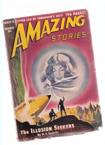 Image for Amazing Stories Science Fiction Pulp Magazine, Volume 24, # 8, August 1950 ( Illusion Seekers; From these Ashes; Screaming Shapes; Invaders from the Void; Forbidden Fruit; Time Tolls for Toro; I'm a Stranger Here Myself )