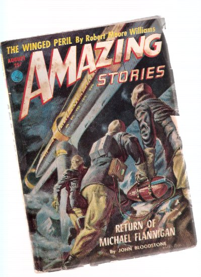 Image for Amazing Stories Science Fiction Pulp Magazine, Volume 26, # 8, August 1952 ( Return of Michael Flannigan; The Winged Peril; Black Angels Have No Wings; Formula for Galaxy I; Master of the Universe )