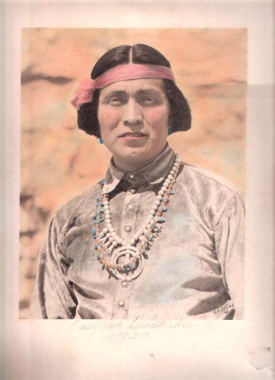 Image for Chief Joseph ( Joe ) Secakuku, 1927, Signed, Hand Tinted Photograph By R H Stone of Los Angeles ( New Mexico Related / Chief of Second Mesa Hopi / Yellowfeet )( owned a trading post from 1924 to 1935 )