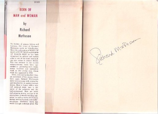 Image for Born of Man and Woman --- Signed By Richard Matheson and Robert Bloch  (includes:  The Art of Richard Matheson By Robert Bloch, Signed )( Third from the Sun; Dress of White Silk; Witch War; Through Channels; Lover When You're Near Me; etc)