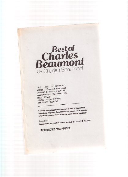 Image for Best of Charles Beaumont (AKA:  Best of Beaumont )( Infernal Bouillabaisse; Free Dirt; Fritzchen; Blood Brother; Perchance to Dream; Insomnia Vobiscum; Jungle; Three Thirds of a Ghost; Mother's Day; Dear Father; Customers; Sorcerer's Moon; Trigger )