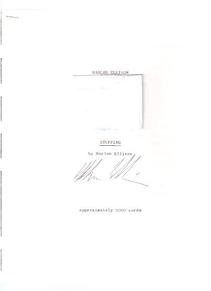 Image for Stuffing --- Photocopy of a Typed Manuscript ---signed By Harlan Ellison ( Collected in Angry Candy )