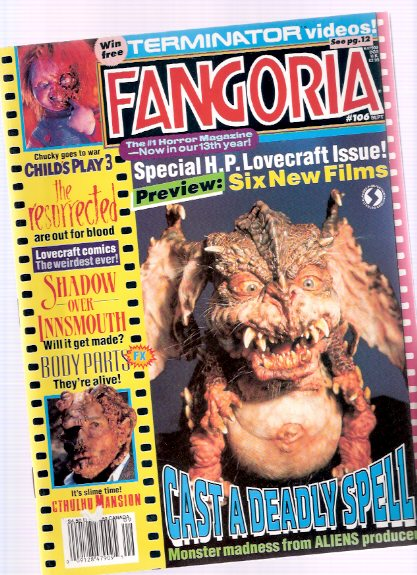 Image for Fangoria Magazine, September 1991, # 106 ( Includes:  HPL on Screen; Drawing on the Mythos; Charles Dexter Ward, Take Two; The Thing Man; Article on Shadow Over Innsmouth)