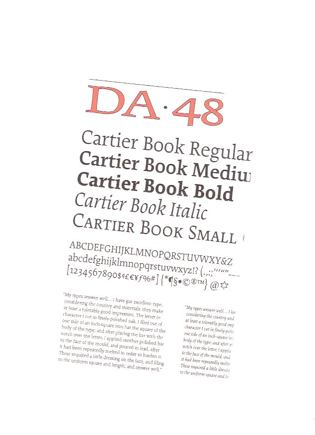 Image for DA ( The Devil's Artisan ), A Journal of the Printing Arts, Issue 48, Spring / Summer 2001 - Cartier Book Regular - Medium - Bold - Italic - Small  (includes Carl Dair )