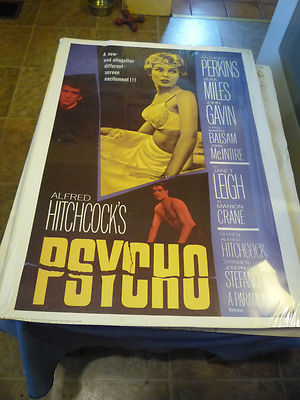 Image for Alfred Hitchcock's PSYCHO MOVIE POSTER for the Hitchcock Film - SIGNED by ROBERT BLOCH -Starring Anthony Perkins; Vera Miles; John Gavin; Martin Balsam; John McIntyre, and Janet Leigh as Marion Crane ( Norman Bates related)