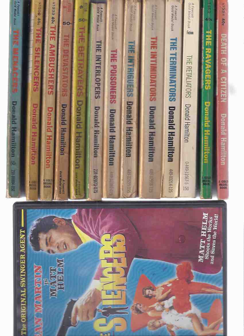 Image for Matt Helm Series / Books & a DVD of The SILENCERS Starring Dean Martin as Matt Helm: Death Citizen; Silencers; Ambushers;  Ravagers; Devastators; Betrayers; Menacers; Interlopers; Poisoners; Intriguers; Intimidators; Terminators; Retaliators -13 Volumes