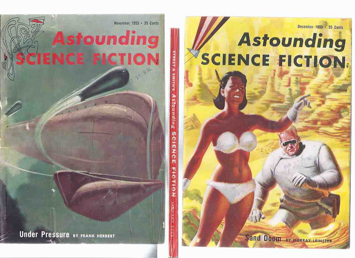 Image for Astounding Science Fiction Stories Nov / Dec / Jan 1955 / 1956 --3 Volumes (inc.: Under Pressure; Cubs of Wolf; Nobody Bothers Gus; Slingshot; Outvaders; Sand Doom; Golden Judge; Breakaway; Far from Home; Faithfully Yours; Executioner;  etc)( SF Digest )