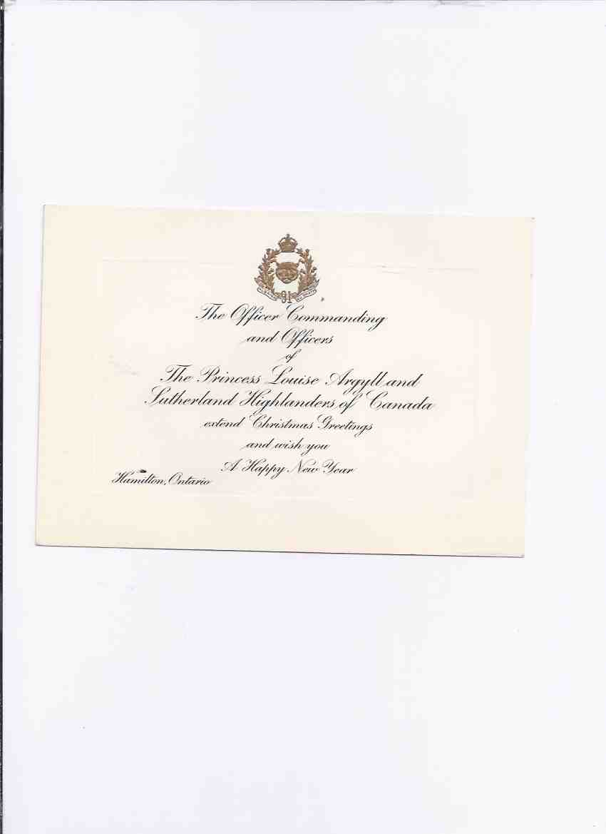 Image for Christmas Card from --- The Princess Louise Argyll and Sutherland Highlanders of Canada 91st Regiment / Hamilton Ontario