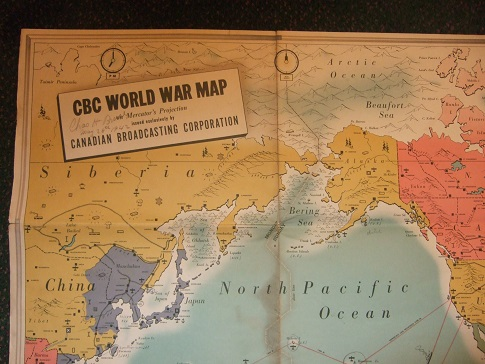 Image for CBC Radio Canada / Canadian Broadcasting Corporation World War Map on Mercator's Projection ( World War Two / WWII )( shows German / Nazi and Japanese octopoidal Tentacle reach )