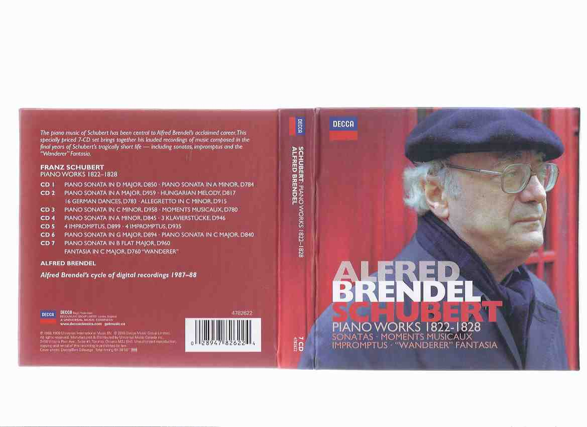 "Image for SCHUBERT:  Alfred Brendel Piano Works, 1822 - 1828 7 CDs Plus Booklet / Decca (includes:  Sonatas, Moments Musicaux, Impromptus, ""Wanderer"" Fantasia )( Franz Schubert )"
