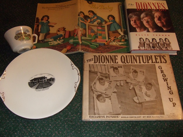 Image for FIVE ITEMS - The Dionnes ---by Ellie Tesher / The Baby: Department of Health of Ontario  / The Dionne Quintuplets: Growing Up ----- Exclusive Pictures (Three Books Plus Cup and Plate )
