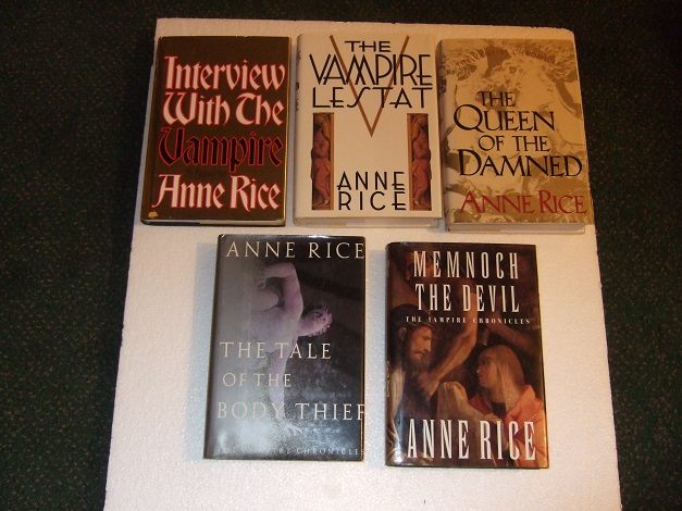Interview with the Vampire ---with The Vampire Lestat ---with The Queen of the Damned ---with The Tale of the Body Thief ---with Memnoch the Devil (signed) ---Book 1, 2, 3, 4 and 5 of the Vampire Chronicles ---FIVE Volumes (all KNOPF editions)