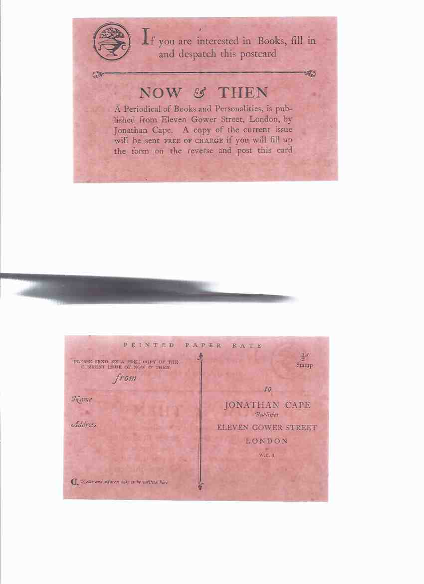 Image for Jonathan Cape Ephemera:  Order Form for Now and Then a JC Catalogue - Circa 1928