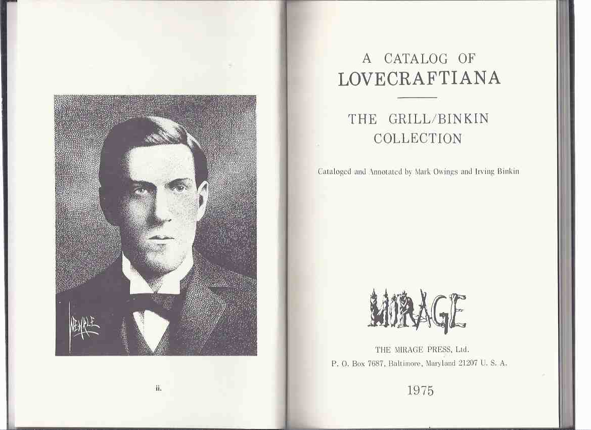 Image for A Catalog of Lovecraftiana:  The Grill / Binkin Collection, Cataloged and Annotated By Mark Owings and Irving Binkin ( H P Lovecraft )