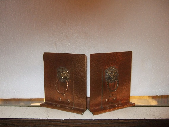 Image for Two Hammered Copper LION's Head Bookends ( Book Ends )