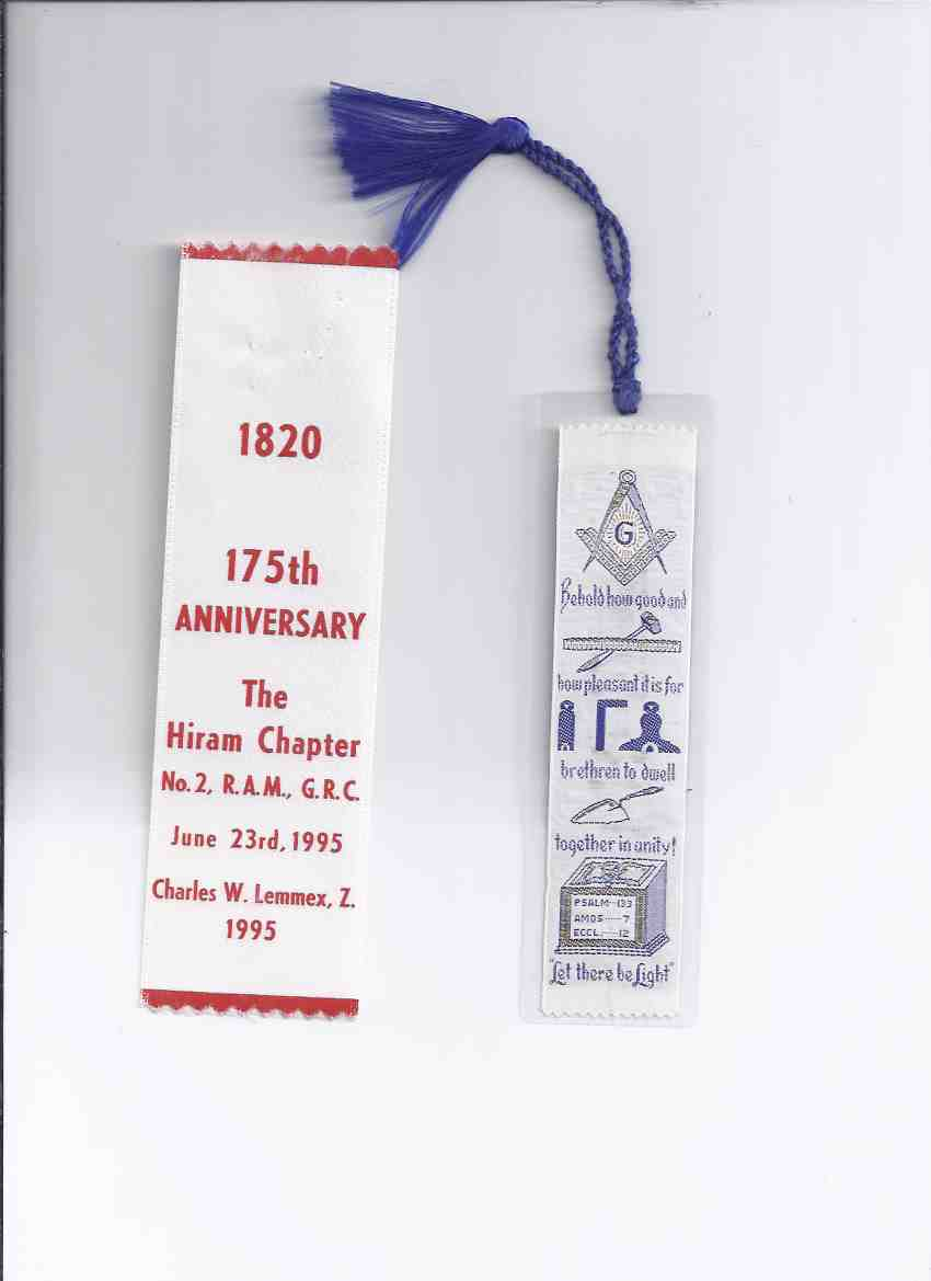 Image for BOOKMARKS Masonic Bookmark with Verse /and/  - 1820 - 1995 / 175th Anniversary of The Hiram Chapter No. 2, R.A.M, G.R.C. June 23rd 1995, Charles W Lemmex Z. - Hamilton, Ontario ( Royal Arch Masons / Canada / Masonic Lodge )