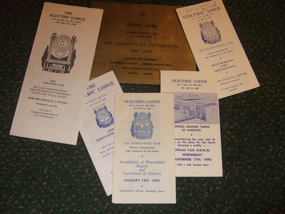 Image for ELECTRIC LODGE No. 495, G.R.C. Copetown, Ontario - Masonic Ephemera (inc. 50th Anniversary Celebration 1909 - 1959 at The Scottish Rite Cathedral, Hamilton, ON.)