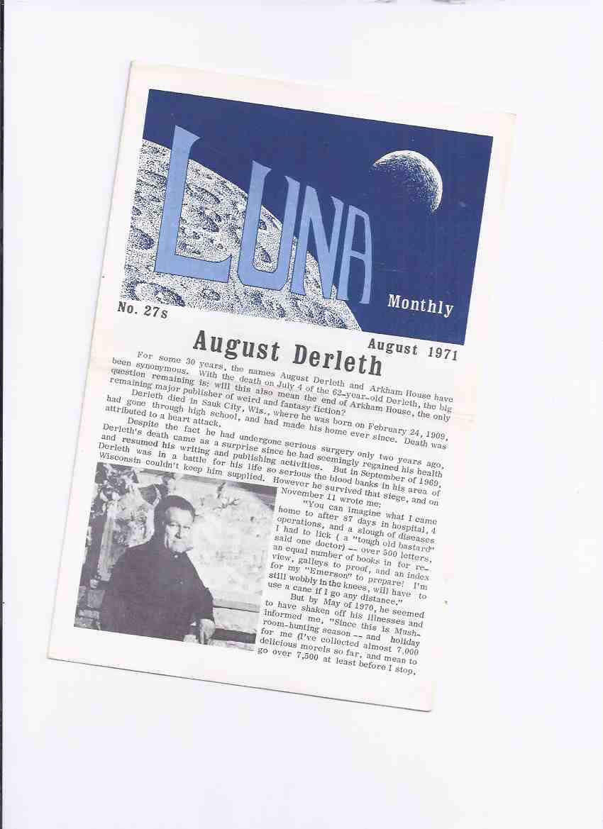 Image for LUNA Monthly, August 1971, No. 27-s (supplement) ( Memorial Issue for August Derleth and John W Campbell )
