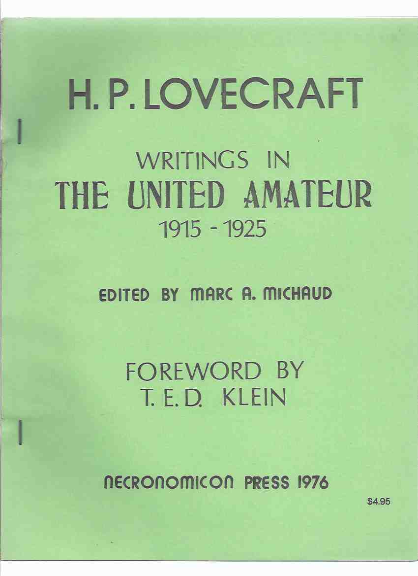 Image for Writings in the United Amateur, 1915 - 1925 -by H P Lovecraft / Necronomicon Press