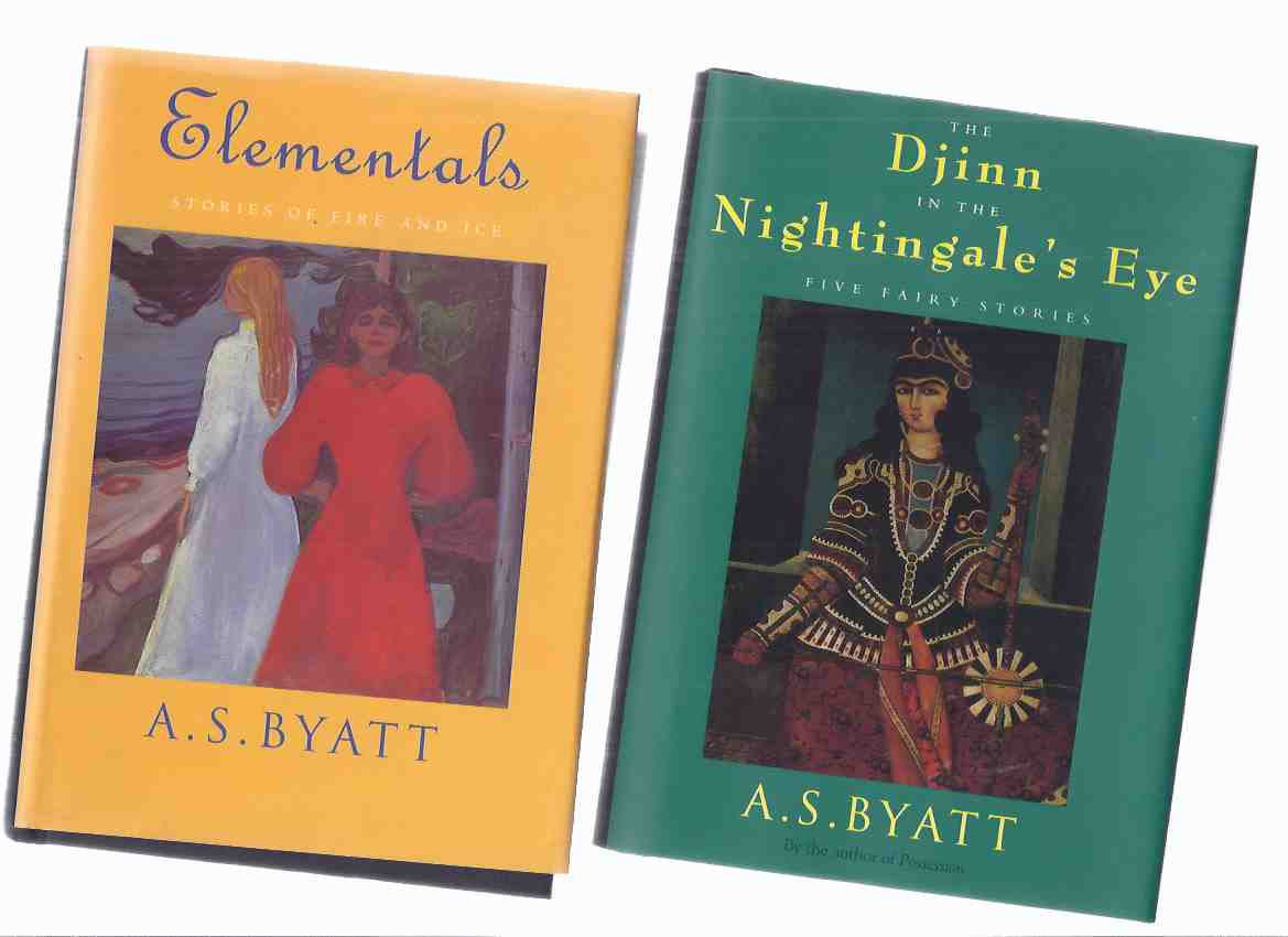Image for The Djinn in the Nightingale's Eye: Five Fairy Stories --with Elementals: Stories of Fire and Ice -TWO VOLUMES -by A S Byatt (inc. Glass Coffin; Gode's Story; Story of the Eldest Princess; Dragon's Breath / Crocodile Tears; A Lamia in the Cevennes; etc)