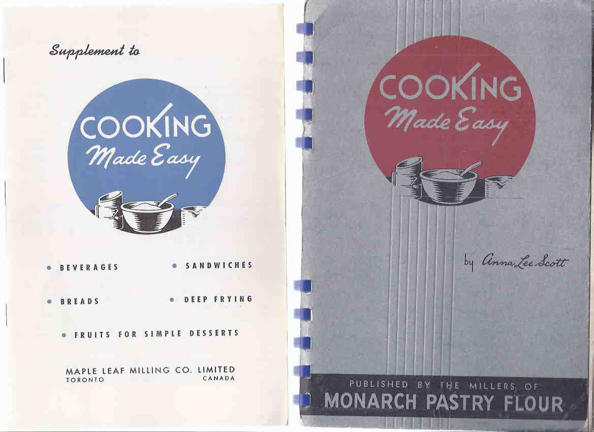 Image for TWO VOLUMES:  Cooking made Easy - Maple Leaf Milling Co. Limited / Monarch Pastry Flour ---with SUPPLEMENT to COOKING MADE EASY -TWO Items  ( Mills )  ( Cook Book / Cookbook / Recipes )