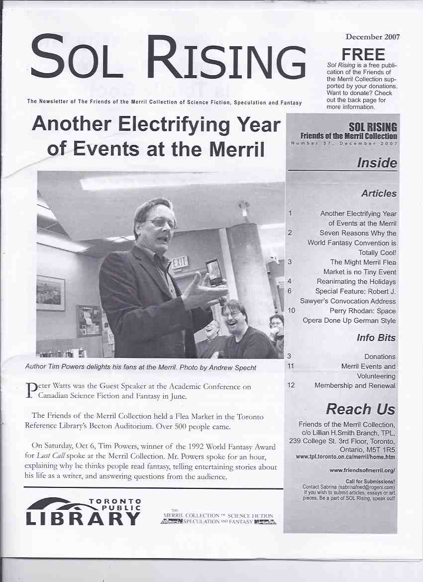 Image for Sol Rising: The Newsletter of the Merril Collection of Science Fiction (articles on H P Lovecraft Movies; Tim Powers; Robert J Sawyer Convocation Address in Sudbury, Ontario; Perry Rhodan; etc)