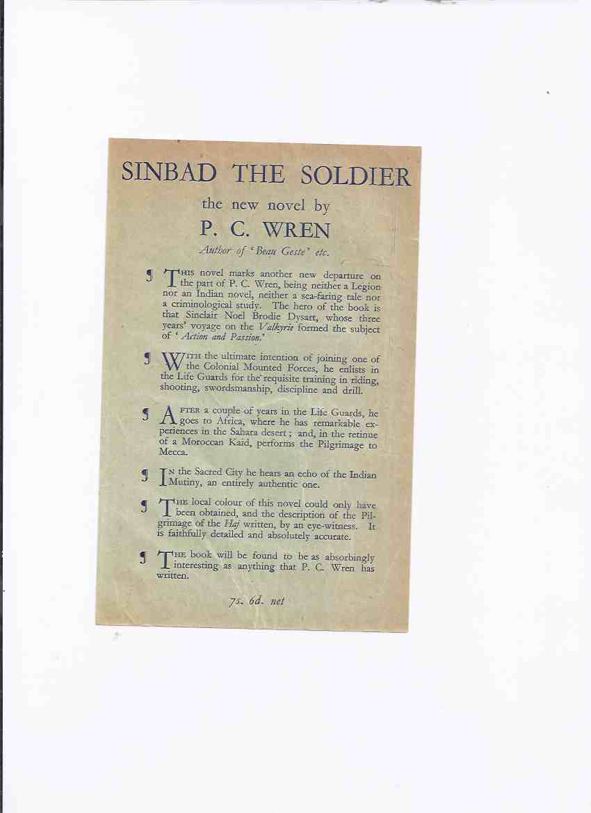 Image for ADVERTISEMENT / LEAFLET for Sinbad the Sailor  ---by P C Wren