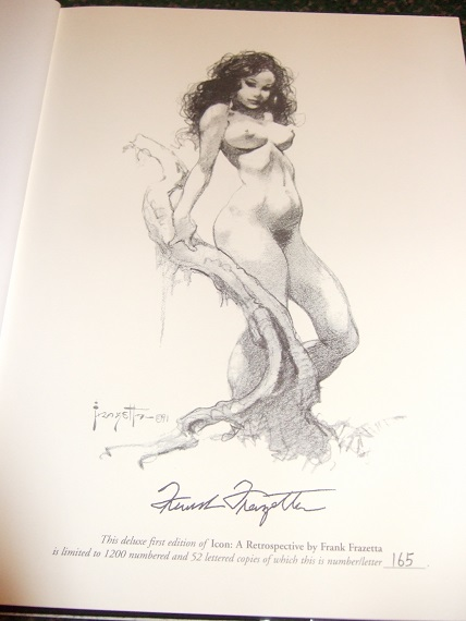 Image for ICON:  A Retrospective By the Grand Master of Fantastic Art - FRANK FRAZETTA - slipcased Edition with Additional Section of Drawings (rear cover shows Night They Raided Minsky's artwork for the movie, endpapers show Tarzan of the Apes and a gorilla )