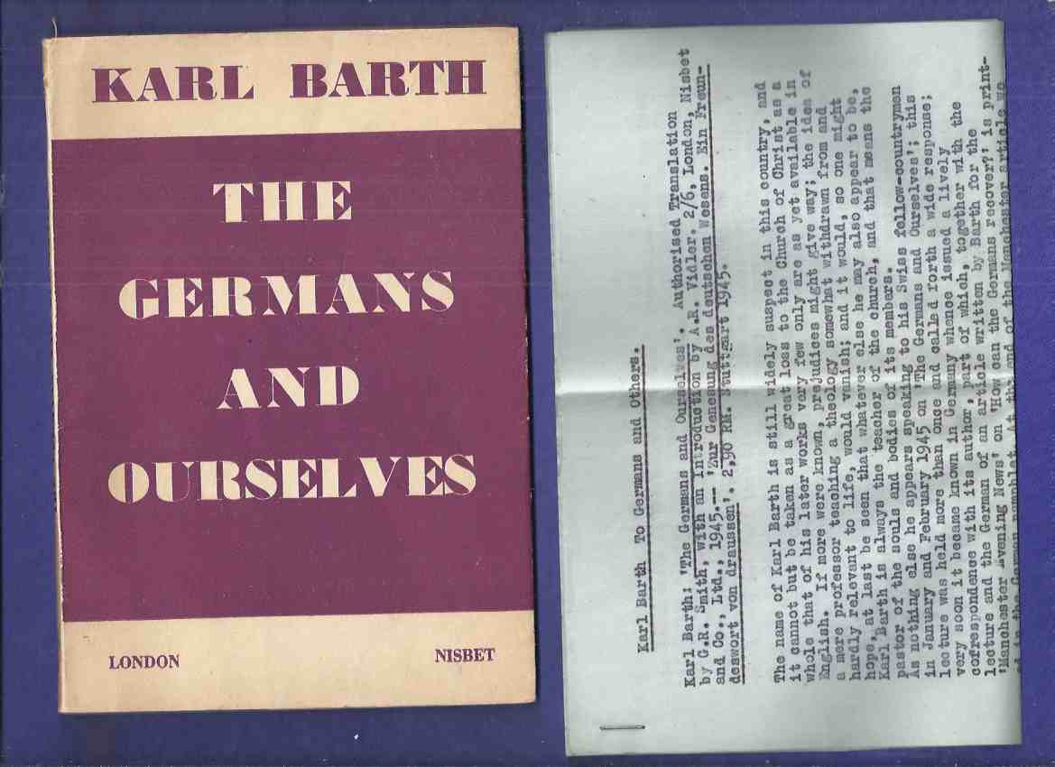 Image for The Germans and Ourselves -by Karl Barth ( Our Selves )