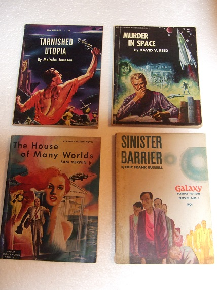 Image for Sinister Barrier; The House of Many Worlds; Murder in Space; Tarnished Utopia -4 Volumes in the Galaxy Science Fiction Novels Series - Book # 1, 12, 23, 27 ( SF )