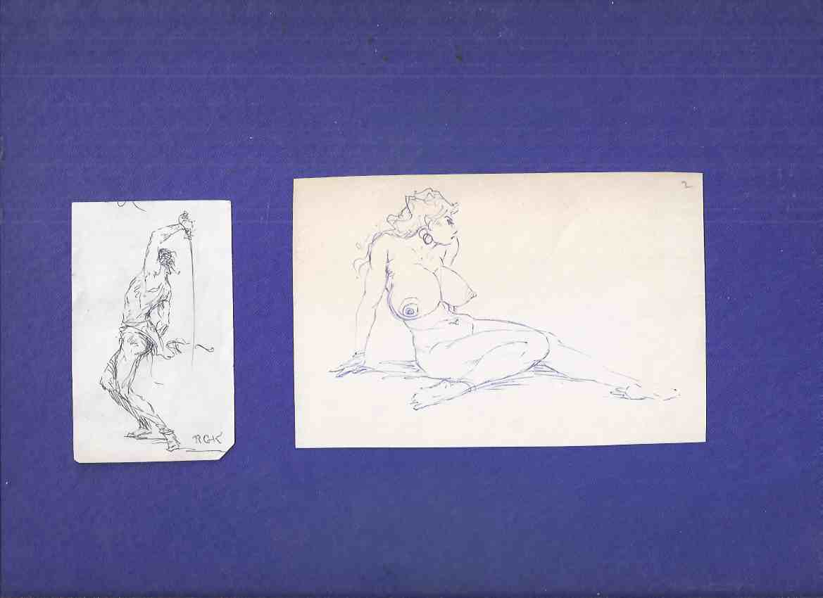 Image for ORIGINAL ART:  Two Sketches By Roy Krenkel ( Swordsman  /and/ Large Breasted Nude Woman )