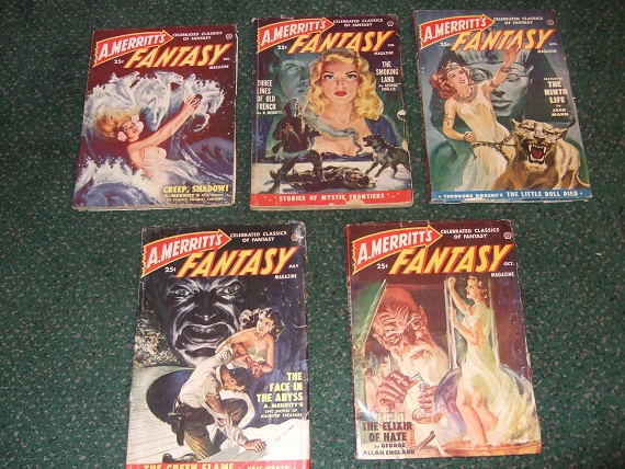 Image for A Merritt's Fantasy Magazine - Complete Pulp Series, Issues 1, 2, 3, 4, 5, 1949 / 1950 -FIVE VOLUMES ( Creep, Shadow!; Footsteps Invisible; Smoking Land; Three Lines Old French; Seal Maiden; Ninth Life; Face Abyss; Elixir Hate; Racketeers in Sky, etc)