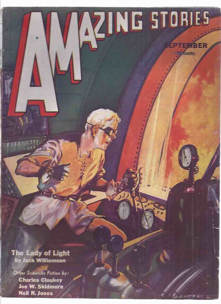 Image for Amazing Stories, September 1932, volume 7, # 6 ( The Lady of Light by Williamson; Romance of Posi and Nega by Skidmore; Suicide Durkee's Last Ride by Jones; Swordsman of Sarvon (pt. 2) by Cloukey; Lemurian Documents by Burtt )