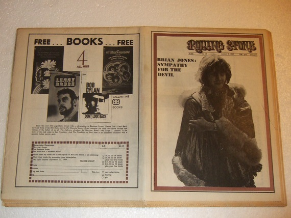 Image for Rolling Stone August 9, 1969 No. 39 (inc. Brian Jones Sympathy for The Devil ( Death ); Liberation (a Rock Cantata ); Wild Things [group]; Ronnie Hawkins; Doug Kershaw; Solomon Burke albums; Memory of a Girl - Brautigan)( Magazine in Newspaper Format )