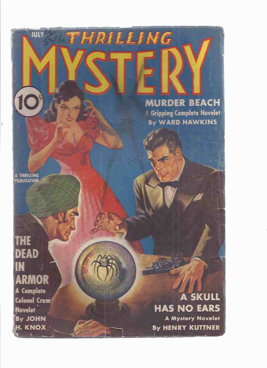 Image for Thrilling Mystery ( Pulp ) / volume 17, # 1,  July 1941 ( Murder Beach; A Skull Has No Ears; The Dead in Armor ( Colonel Crum ); I Married a Ghost; Pied Piper of Death; Twisted Tree; Souvenir of Doom; Mystery-Scopes )