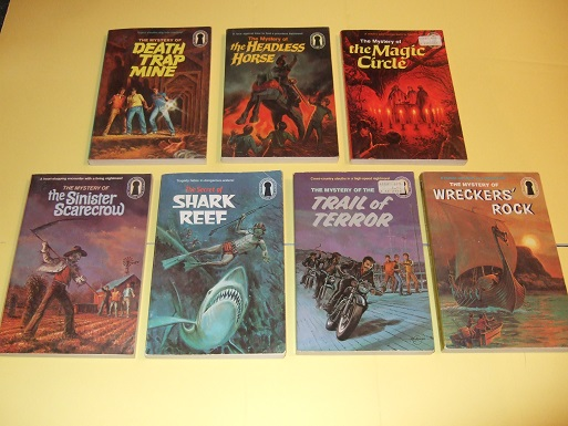 Image for Alfred Hitchcock-Three Investigators: Mystery Death Trap Mine;  Headless Horse; Magic Circle; Secret of Shark Reef; Trail of Terror; Wreckers' Rock -7 VOLUMES -BOOK 24, 26, 27, 29, 30, 39, 42 ( Wreckers / Wrecker's )( 3 Investigators )