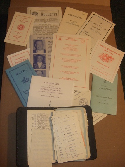 Image for Masonic Notebook, Circa 1965, Likely from Westmount Lodge Hamilton Ontario (with Numerous Pamphlets About Masons and Freemason Proceedings and Events )