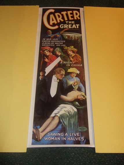 Image for Carter the Great Advertising Poster ( Reproduction of the 1924 Ad Used in New Zealand ) for A NIGHT in CHINA (in Mid Air [he] Materializes a Bowl of Water Weighing 150 LBS / Sawing a Live Woman in Halves )( Magician )