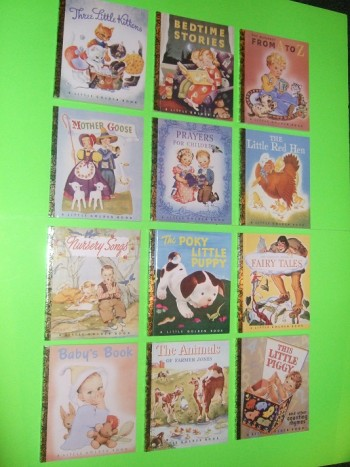 Image for Little Golden Library (First 12 Books ) Three Little Kittens; Bedtime Stories; Alphabet from A - Z; Mother Goose; Prayers for Children; Little Red Hen; Nursery Songs; Poky Little Puppy; Fairy Tales; Baby's Book; Animals of Farmer Jones; This Little Piggy