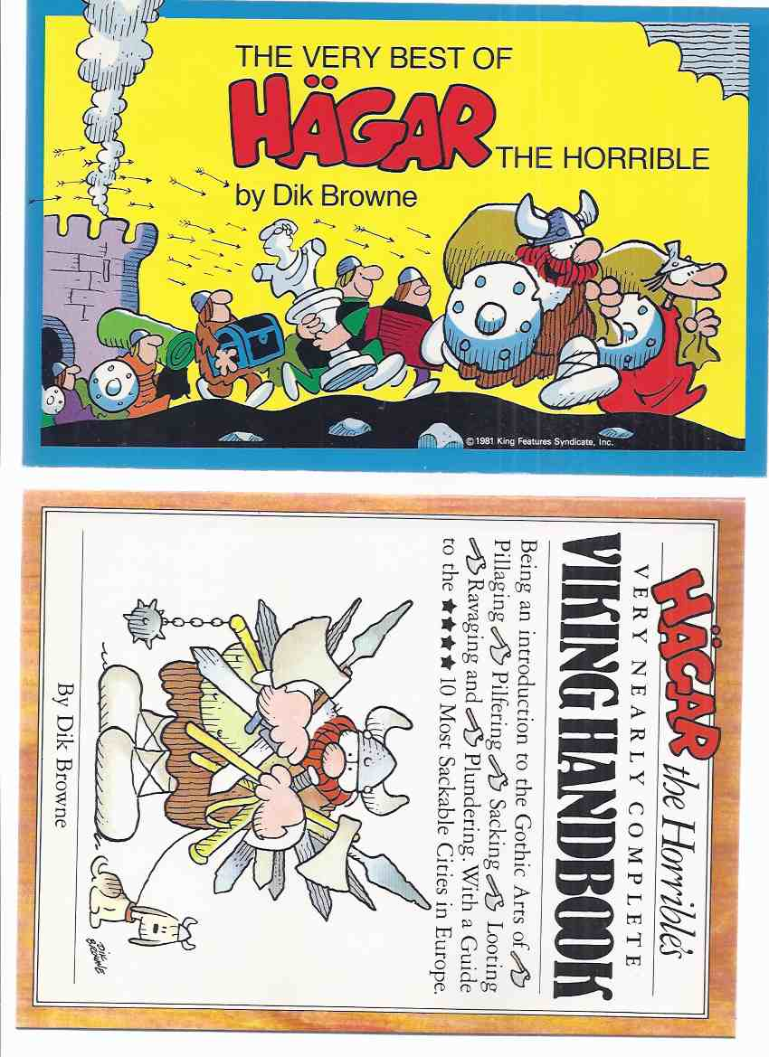 Image for 2 Volumes: The Very Best of Hagar the Horrible / Hagar the Horrible's Very Nearly Complete Viking Handbook Being an Introduction to the Gothic Arts of Pillaging, Pilfering, Sacking, Looting, Ravaging and Plundering -by Dik Browne ( b&w Cartoons / Comics )