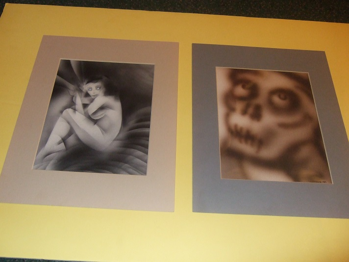 Image for Original Art / Photo Images By Derek Grime - 2 Pieces ( One is a Skeletal Face / Other is an Alien Woman )