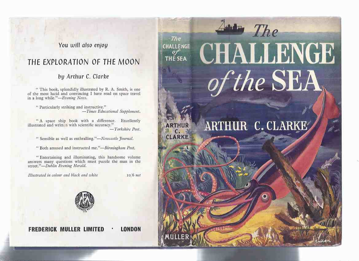 Image for The Challenge of the Sea  -by Arthur C Clarke ( Squid and Whale Cover Art )
